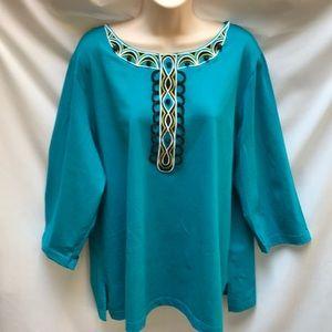 Bob Mackie Wearable Art - Turquoise & Black Top